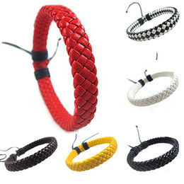 Wholesale-Hot Sale Men's Women's Wrap Braided Faux Leather Bracelet Gift Cuff Bangle Wristband 6XO9 7EK6