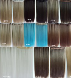 Wholesale 5 a chip card straight piece of color optional highlights receiver simulation hair non trace straight hair fast send