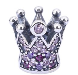 Sterling Silver Charms 925 Ale Rhinestone Crown European Charms for Pandora Bracelets DIY Beads Accessries Free Shipping