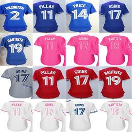 2017 Womens Toronto 19 Jose Bautista 17 Ryan Goins 11 Kevin Pillar Martin Price Tulowitzki Blue Red Pink White Baseball Jerseys