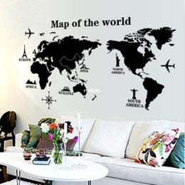 Wholesale bedroom decoration Factory outlets three generations of wall stickers black world map office sofa study international AY9133