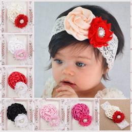 Baby Lace Headbands satin Flower Headbands 2015 fashion girl Pearl Rhinestone elastic headband Shabby headbands Children Hair Accessories