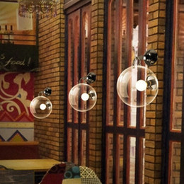 Wholesale 1 Bar wall sconce light Retro Industrial wall lamp Hotel room project bedroom Cafe glass wall lighting novelty Soap bubble reading light
