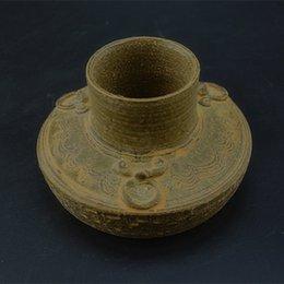 Wholesale Autumn primitive celadon porcelain jar jug ears Banjo do the old antique porcelain ornaments Vintage Collection