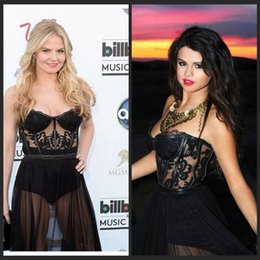 Wholesale Dresses Evening Wear Sexy See Through Sweetheart Backless Jennifer Morrison Formal Empire Prom Evening Dresses Tulle Celebrity Red Car
