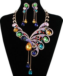 Wholesale wedding jewelry set exotic artist multicolors necklace earrings NJ Neoglory Jewelry outlets Rihood Jewelry