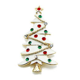 Wholesale White Enamel Christmas Tree Gift Brooch with Multicolored Rhinestone Crystals