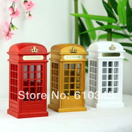 Wholesale Zakka Original British Wood Glass Union Jack mailbox piggy bank telephone booth money box