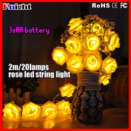 Wholesale 2m leds ROSE pendant battery string light holiday decor FLOWER ornament lamp christmas Wedding Party lights AA battery a
