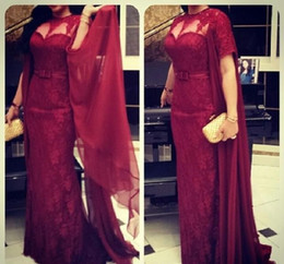 2015 Prom Dresses Sheer Crew Neckline Lace Wine Red Short Sleeve Sashes Mermaid Floor-Length Evening Dresses Dhyz 01