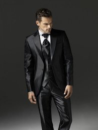 Wholesale Shiny Suits Sale - Hot Sale One Button Shiny Black Groom Tuxedos Notch Lapel Groomsmen Mens Wedding Dresses Prom Suits (Jacket+Pants+Vest+Tie) H8