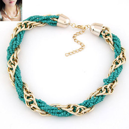 Fashion Beads Link Chain Ocean Style Summer Choker Necklace   Collar Bohemina Necklace Jewelry For Women