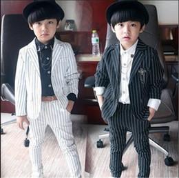 Wholesale Kids City Children Clothing For Gentleman Boy New Baby Boys Blazer Set Suit Black and White Striped Sets Jacket Pants