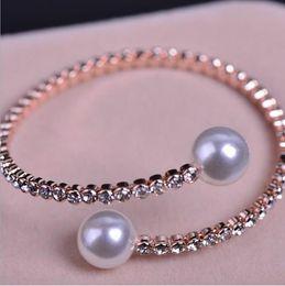 Wholesale Silver Tone Jewelry Box - Rose Gold Tone Pearl Wedding Engagement Bridal Jewelry Rhinestone Crystal Bridal Bracelet Bangle