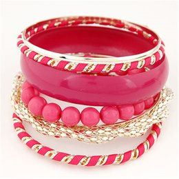 Wholesale-Candy-colored Joker Beads Metal Bracelets Bangles For Women Accessories Pulseiras Femininas