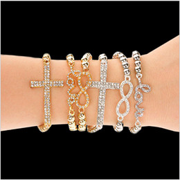 fashion Totally Hand-made full rhinestone cross 8 love Charm elastic rope Beaded Chain Strands Bracelets Cheap for Company activities gift