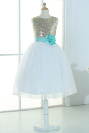 Gold sequins ivory tulle flower girl dress tutu princess kids children junior bridesmaid dress with mint sash detachable for wedding