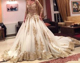 Sequined Two Pieces Wedding Dresses Cinderella Arabic Gold Lace Beads Luxury V Neck Chapel Train Vintage Ball Gown Bridal Gowns Long Sleeves