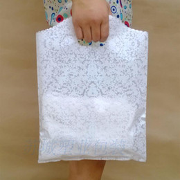 wholesale 100pcs white Lace Gift Bags, Transparent small plastic shopping packaging kid's T shirt bag, 25x35CM