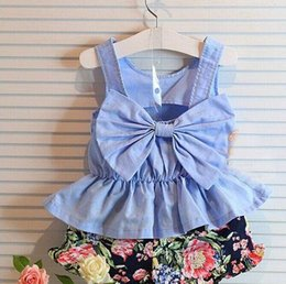 Wholesale 2015 Summer Childrens Clothing Kids Korean Style Fashion Set Cute Bow Tank Top And Floral Shorts Pieces Set Kids Clothes TZ069
