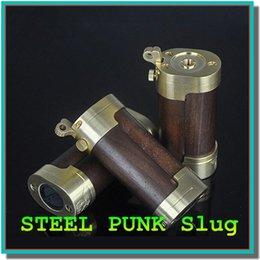 Wholesale Unique design steel punk slug mod wood brass material steel punk mod ecig battery body suit with thread atomizer DHL