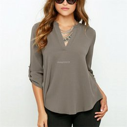 women blouses OL Sexy V-neck Solid Color Chiffon Blouse Fold Long Sleeve Top Fashion Blouses Shirt Blusas Femininas S-XXXL