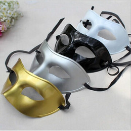 Wholesale-Men's Masquerade Mask Fancy Dress Venetian Masks Masquerade Masks Plastic Half Face Mask Optional Multi-color (Black, White,