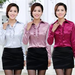 2016 new spring women shirt silk long-sleeved shirt Slim shirt big yards flounced S--2XL