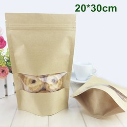 Wholesale DHL cm quot Kraft Paper W Clear Window Stand Up Packing Package Bag for Food Coffee Storage Resealable Zipper Zip Lock Bag