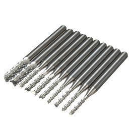 Wholesale 10pcs Nueva Titanium Molino Conjunto Grabado de herramientas de carburo de Rotary rebabas Apto para placa de circuito de mm mm PVC Compuesto orden Nadie pista