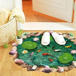 Wholesale 3d lotus fish water pool through the floor stickers room decor home decals pvc pastoral mural wall art pastoral poster home decora