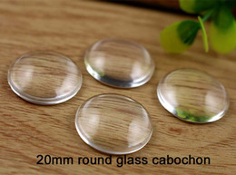 Wholesale Cabochon Transparent - 100pcs round clear glass tiles, 20mm Glass Cabochon Transparent Clear Round Cameo Cover Cabs