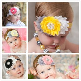 Hot Sale Fabric Lace Flowers Headband For Infant Babys Girls Kids Children Hair Accessories Baby Headwear