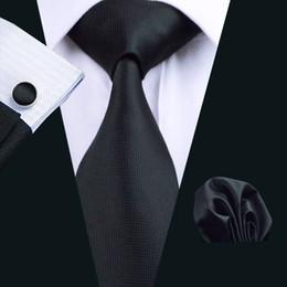 Black Tie Set Silk Hankerchief Cufflinks Mens Jacquard Woven Classic Business Tie Necktie Three Set N-0251