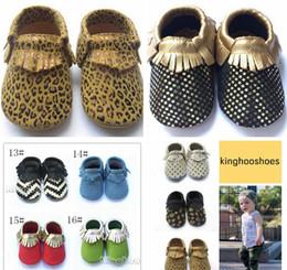 free ups ship 2016 Leather baby moccasins baby zigzag chevron moccasins girls boys leopard moccs baby ploka bow fringe shoes 80pc=40pair