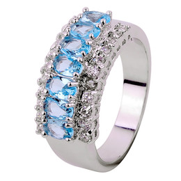Wholesale Size7 Fashion Jewelry lady s Aquamarine Ring KT white Gold Filled pc freeshipping