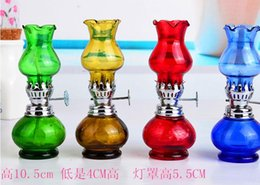 Free shipping wholesalers ----- Mini stained glass kerosene lamp, glass Hookah   glass bong accessories, 10.5 cm high, color random delivery