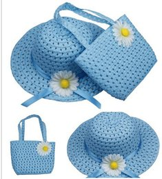 Wholesale Cowboy Hats Ribbon - Children cap sunhat handbag set visor cute girl floral ribbon straw cap tote kids summer beach Two-piece bag hat sunbonnet bags suit
