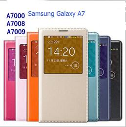 Wholesale 2015 nouveau PU Flip étuis en cuir avec fenêtre ouverte batterie porte boîtier couverture Smart Case tactile pour Samsung Galaxy A7 A5 A3