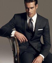 Wholesale Slim Fit Jacket Cheap - So Handsome Groom Tuxedos Slim Fit Notched Lapel Custom Made Wedding Men's Suit Bridegroom Suit 4 Pieces (Jacket+Pants+Tie+Vest) Cheap 2015