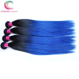 4 Bundles Ombre Peruvian Straight Hair Weave 1B Blue Tissage Cheveux Humain 100g pcs Ombre Peruvian Virgin Hair Straight Bundle Deals