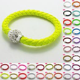 Wholesale 2013 New lemon yellow leather strap bracelet punk magnetic drill buckle bracelet female stars