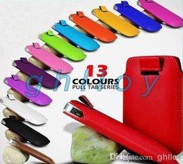 pull tab leather pouch case for iphone 6 6plus 5 5S and Samsung Galaxy S6 S5 S4 S3 note4 3 2
