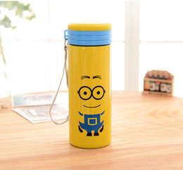 Wholesale Despicable Me Minions water bottles with Creative cartoon cloth cover Anti scald transparent Portable kids Water Bottle L0349c