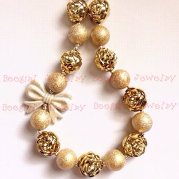 Gold Bowknot &Gold rose flower Beads gold dull polish Beads chunky bubblegum girl statement necklace CB649