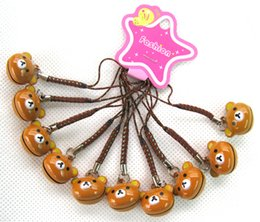 Wholesale Job Brown Color Cartoon Rilakkuma cell phone blue cord charms with bell