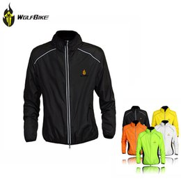 Fall-WOLFBIKE Cycle Jersey Men Riding Breathable Jacket Cycle Clothing Running Bike Long Sleeve Wind Coat Size Color Option