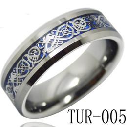 Tungsteno anillos de carburo de dragón en Línea-Joyería de moda anillo de carburo de tungsteno de 8mm azul del anillo del embutido dragón de plata del fondo para los hombres y las mujeres TUR-005