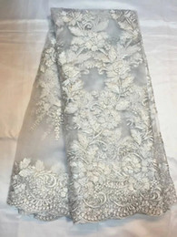 New fashion Swiss wedding tulle lace African handcut embroidery french net lace fabric for dressing QN26-1 white