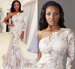 One Shoulder Evening Dresses Long Sleeve Mermaid White Appliques Lace Celebrity Dress Evening Pageant Gowns Dhyz 02